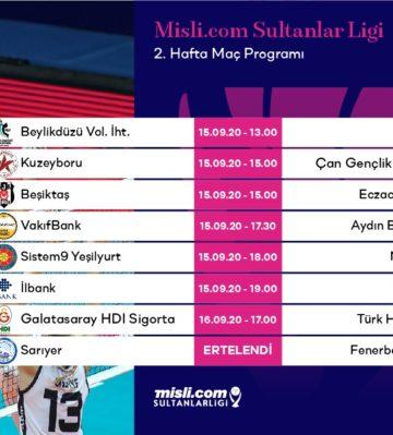 Misli.com Sultanlar Ligi'nde ikinci hafta başlıyor